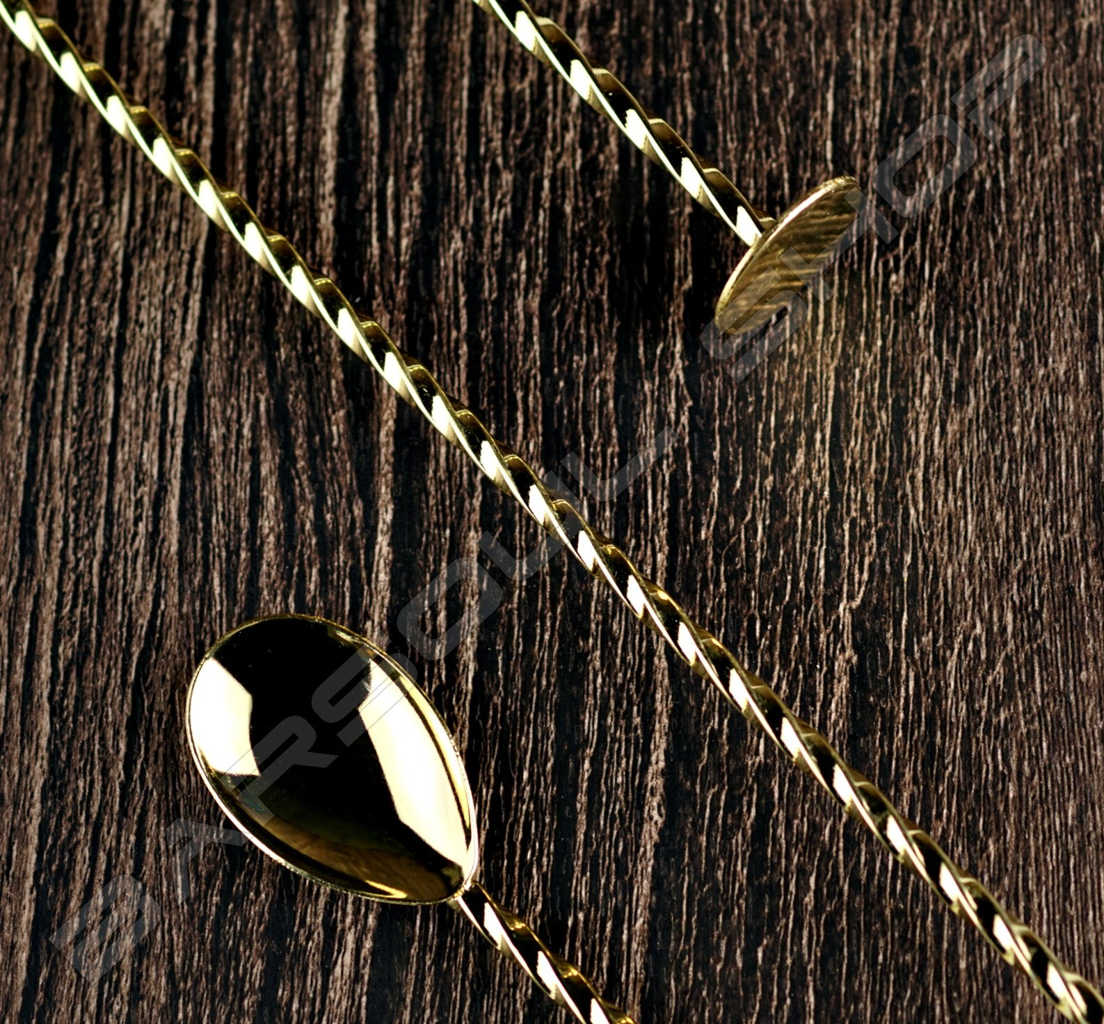 30cm螺旋平底吧叉匙(金色) Spiral Flat Barspoon (Gold)