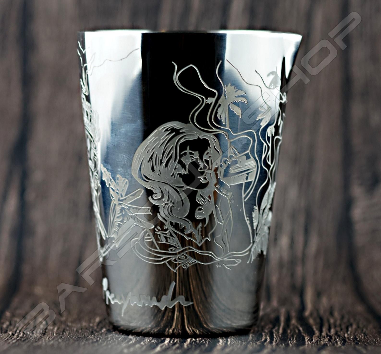 雕刻金屬攪拌杯(亮銀)500ml Engraved  mixing cup(silver)