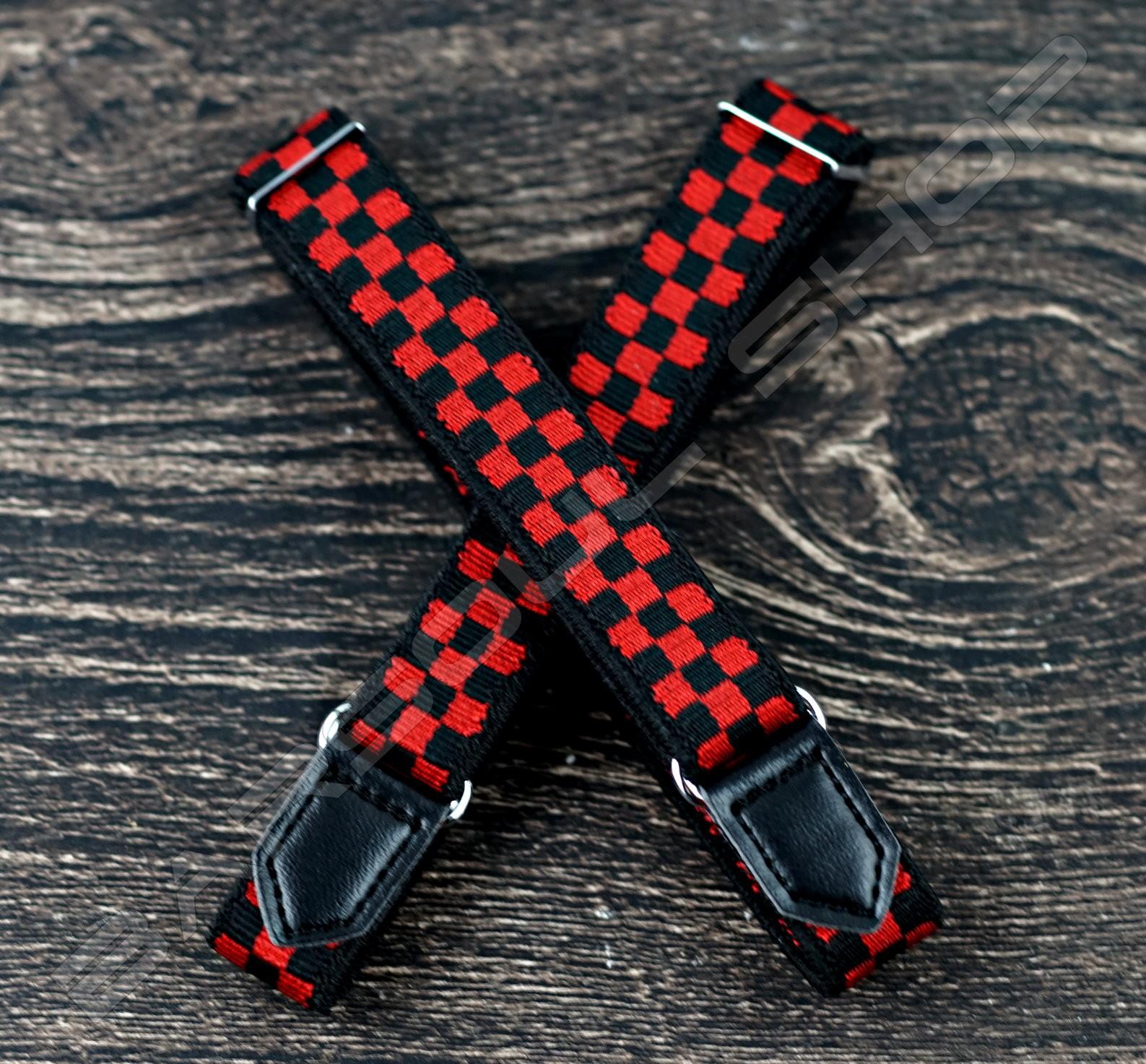 【日本直送】日式伸縮皮飾袖環(紅棋盤) Sleeve garters(D25)