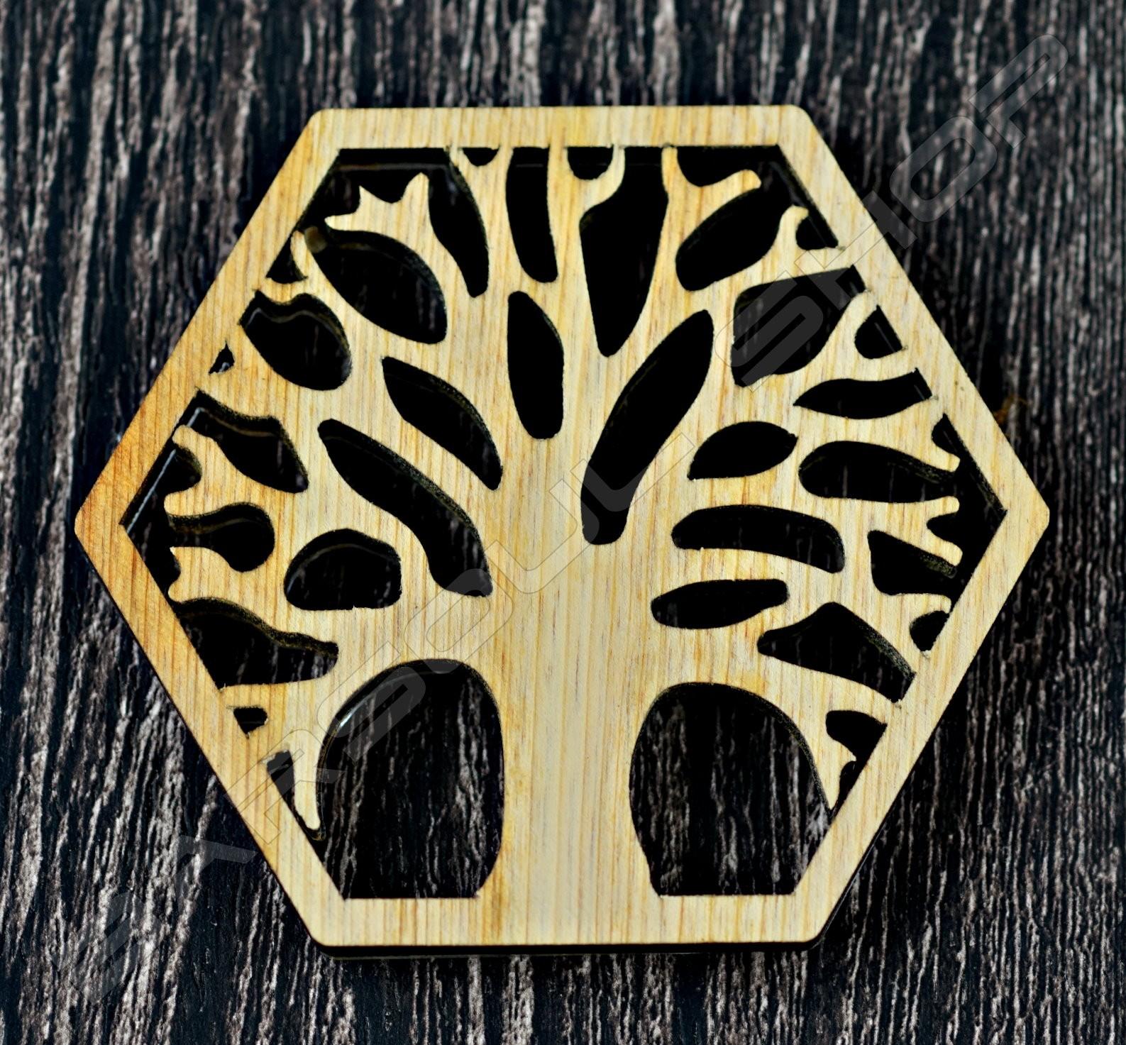 雷雕越南檜木杯墊F Vietnamese cypress coaster