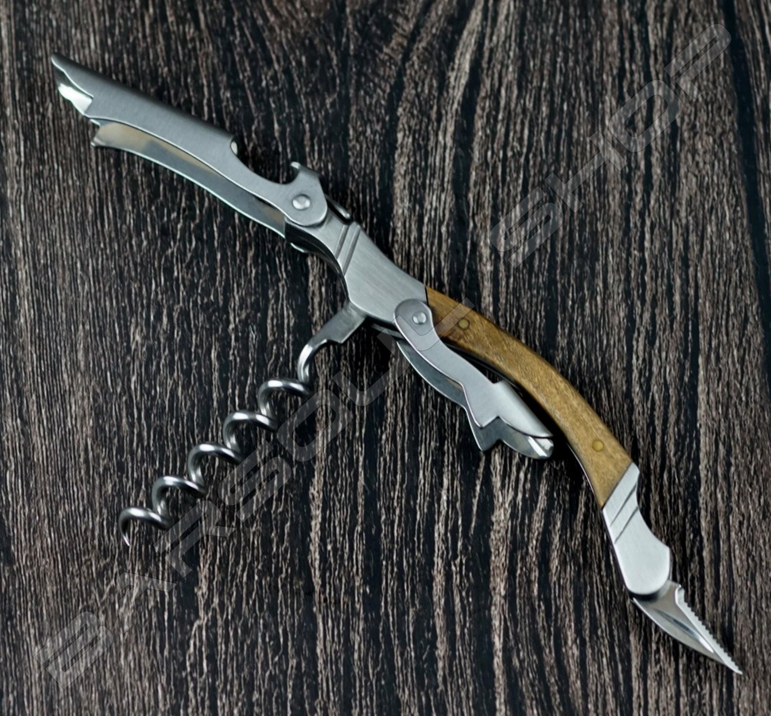 木柄金屬開瓶器(銀) Wood lines metal wine opener (silver)