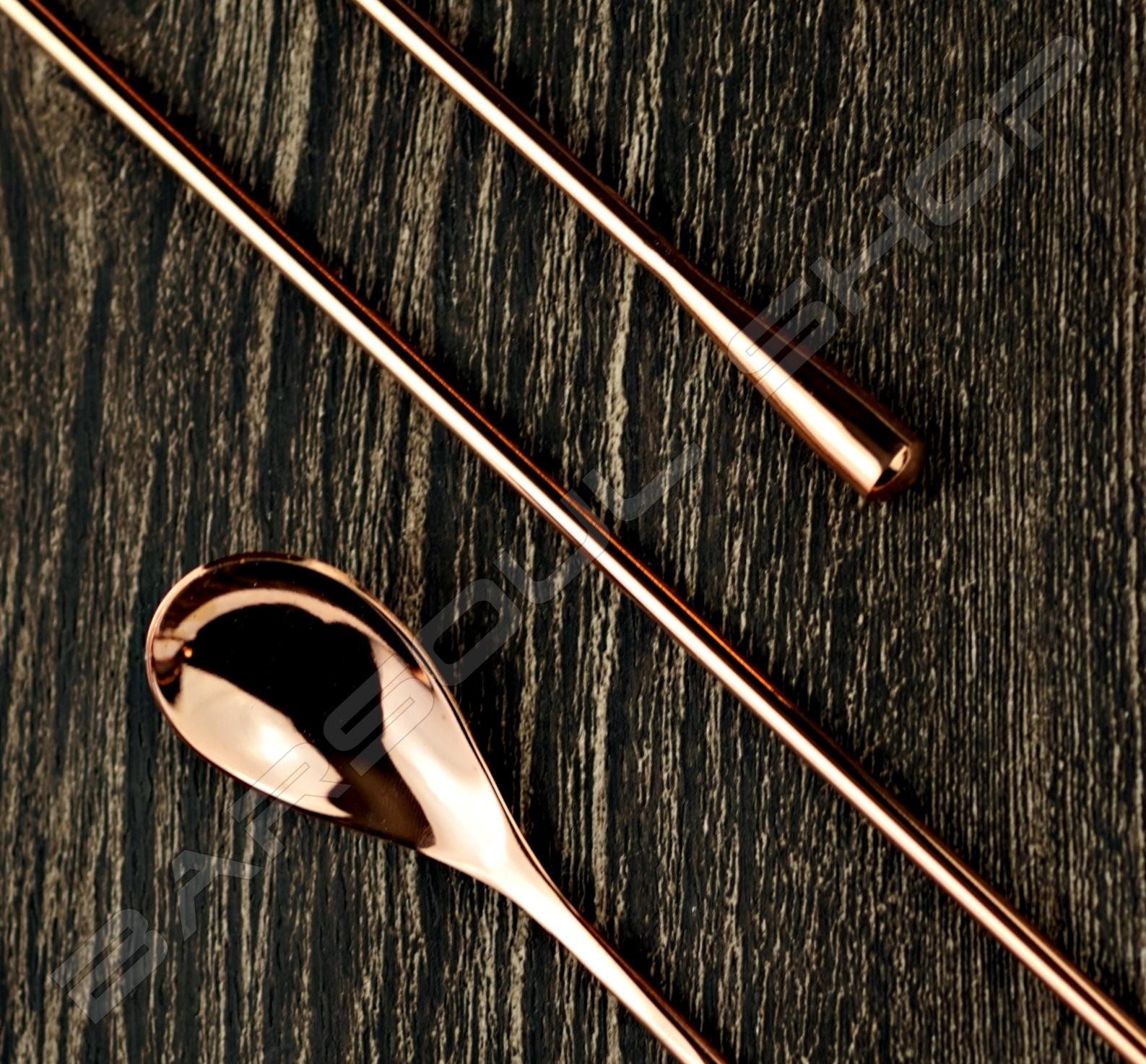 40cm 圓頭圓身吧叉匙(玫瑰金) Special Smooth body barspoon(rose gold)