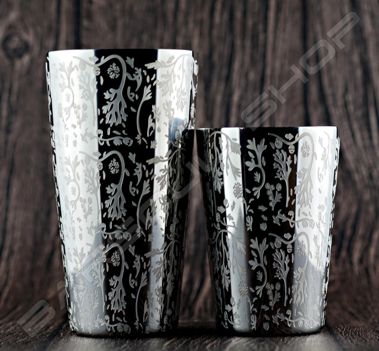 二節式雕花波士頓shaker組(銀) Boston shaker set(silver)