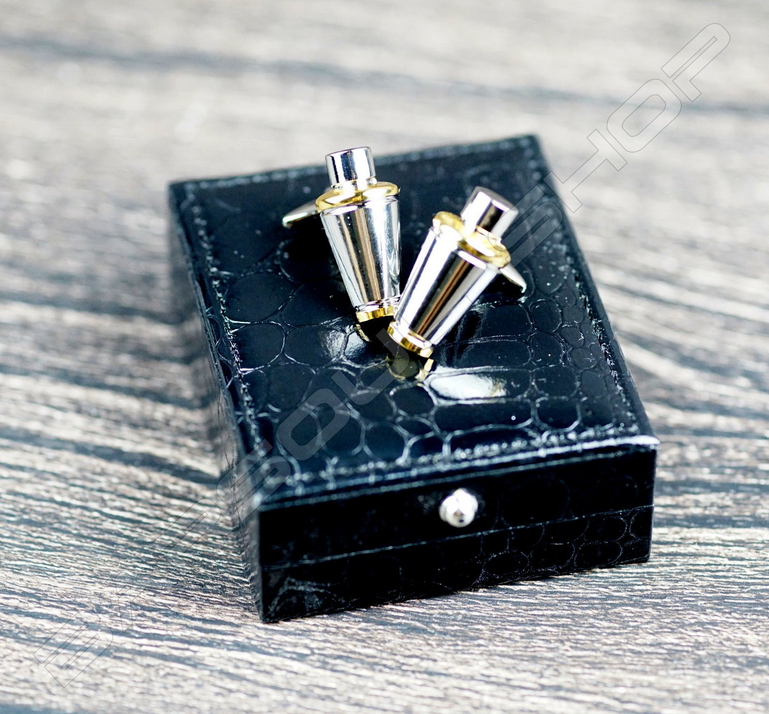 金屬袖扣 亮銀金線雪可杯造型 Metal cufflink(A03)