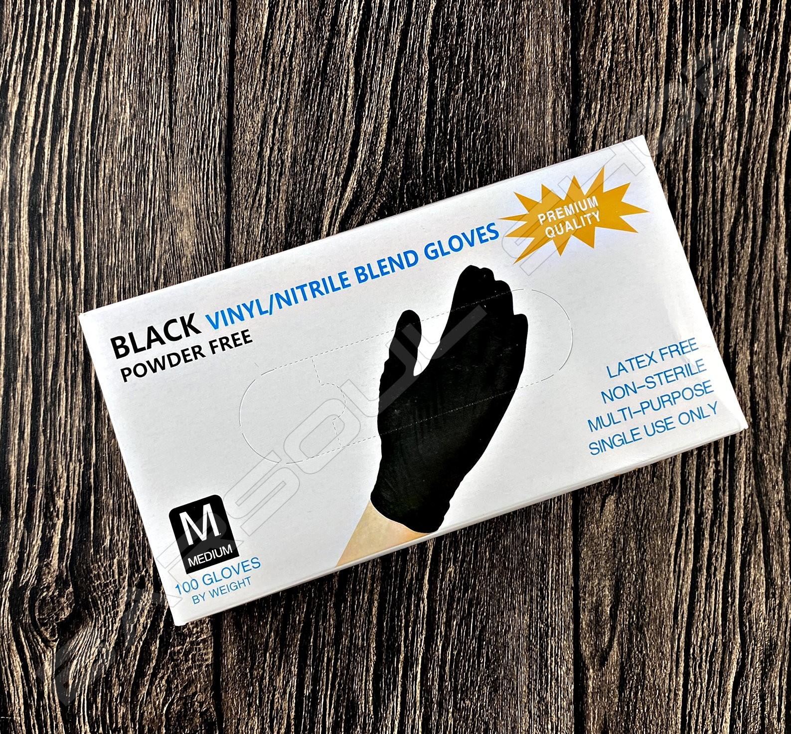 黑色彈性乳膠手套(一次性/M) Black latex gloves