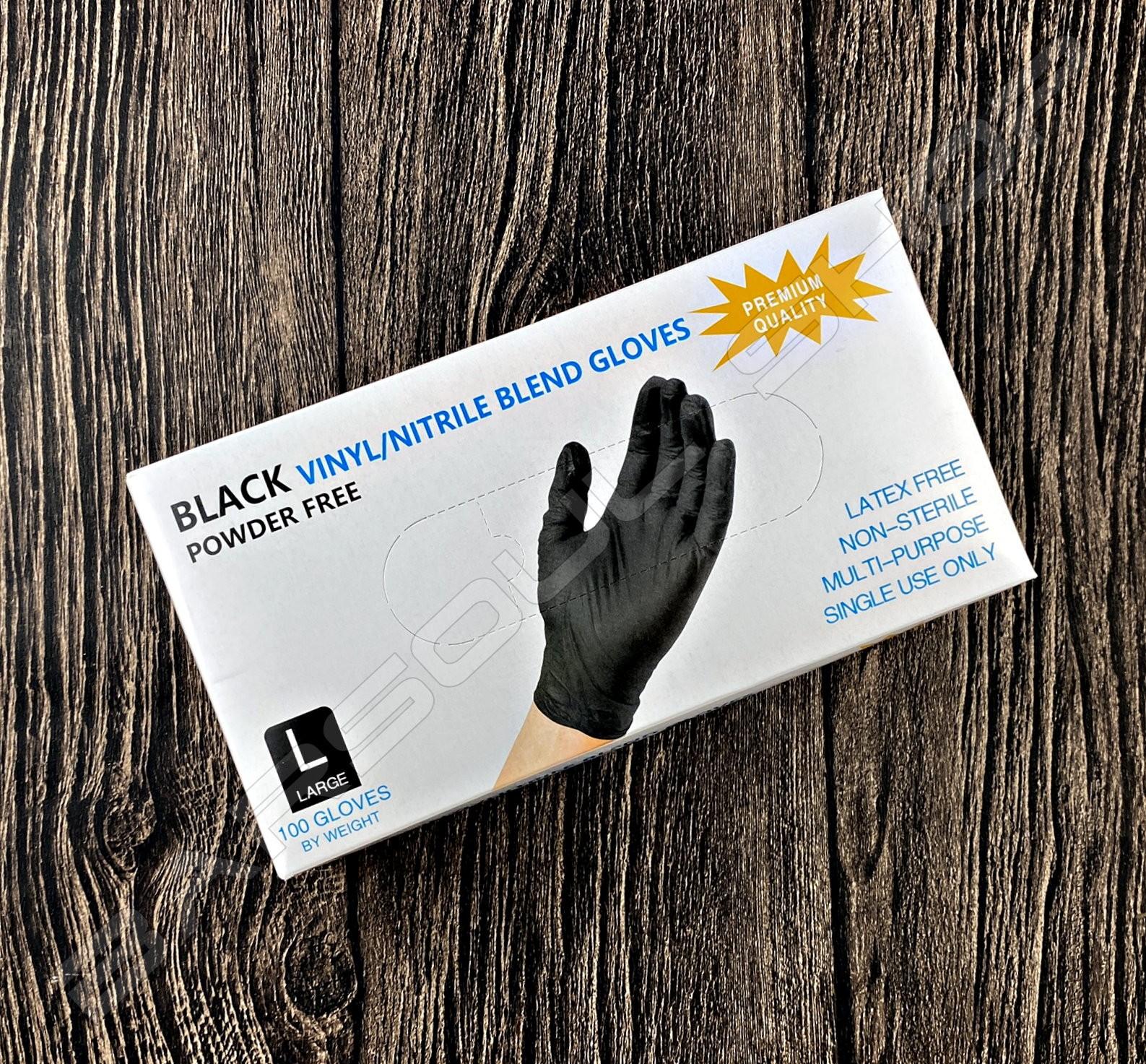 黑色彈性乳膠手套(一次性/L) Black latex gloves