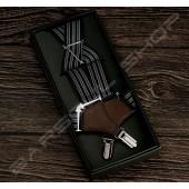 日式伸縮皮飾吊帶(黑白條紋) Japanese elastic Sling A01