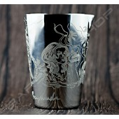 雕刻金屬攪拌杯(亮銀)500ml Engraved  mixing cup(silver)