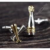 金屬袖扣 香檳+酒杯造型 Cufflink